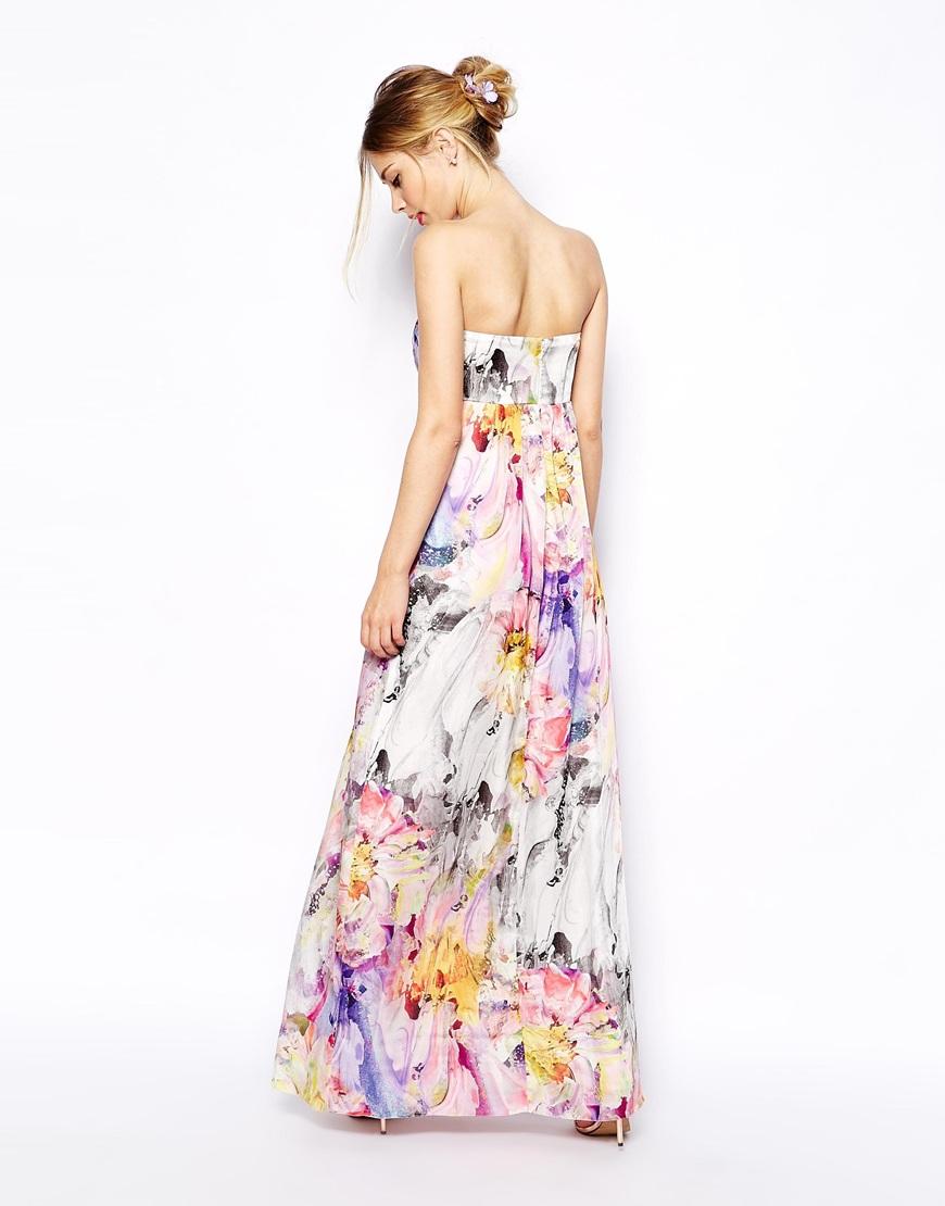 ASOS Floral Bandeau Maxi Dress at asos.com