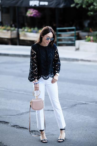 d7a465968777fc fit fab fun mom blogger top pants shoes bag sunglasses jewels white pants  sandals black blouse