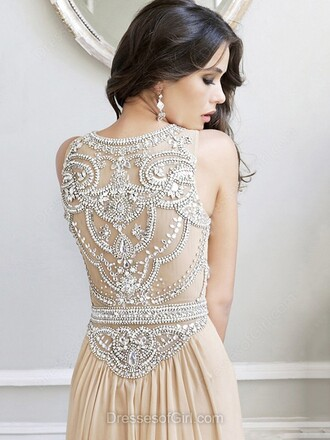 dress beige gown prom elegant silver sparkle classy homecoming dress evening dress dressofgirl
