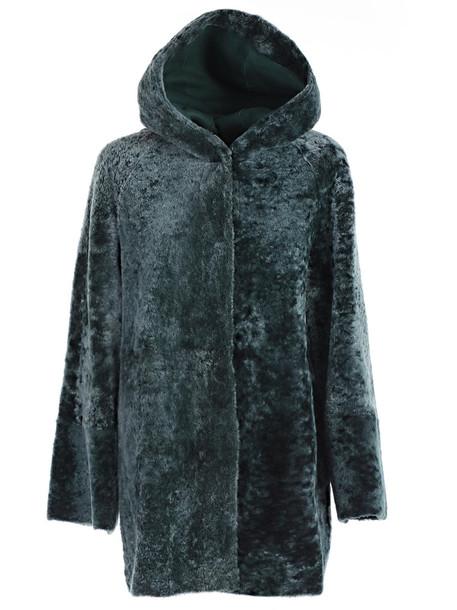 Drome Montone Hooded Coat in green