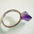 Rough Amethyst Point Silver Ring - Natural Semi-precious gemstone - Aquarius February Birthstone - Adjustable