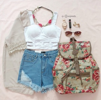 top tank top crop tops white floral bag back to school jewels shorts cardigan vintage cute style fashion clothes