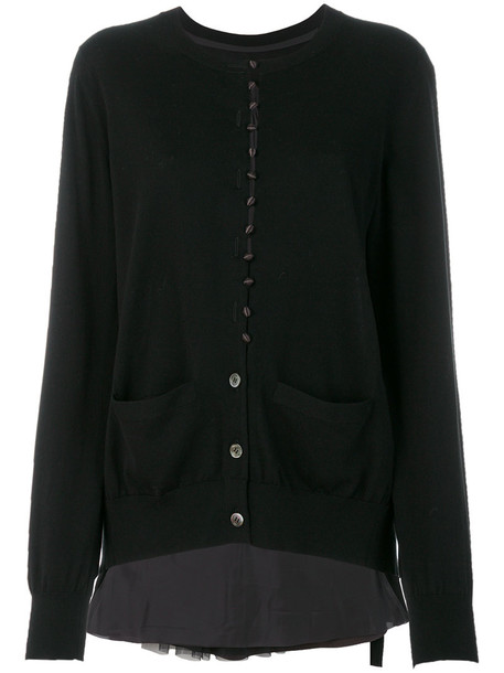 Sacai cardigan cardigan women cotton black satin sweater