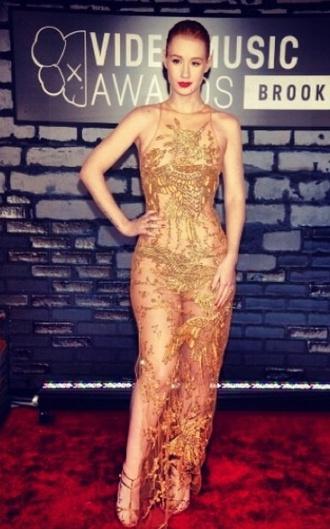 dress mesh nude gold glitter glamour sequins vma iggy azalea celebrity blonde hair girl fashion