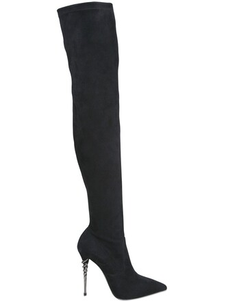 over the knee boots suede black shoes