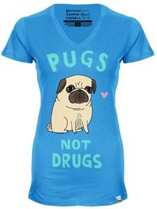 Authentic new standard pugs not drugs women t shirt artist gemma correll med