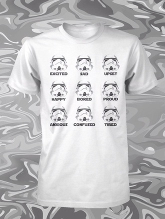 t-shirt stormtrooper white t-shirt emotions starwars