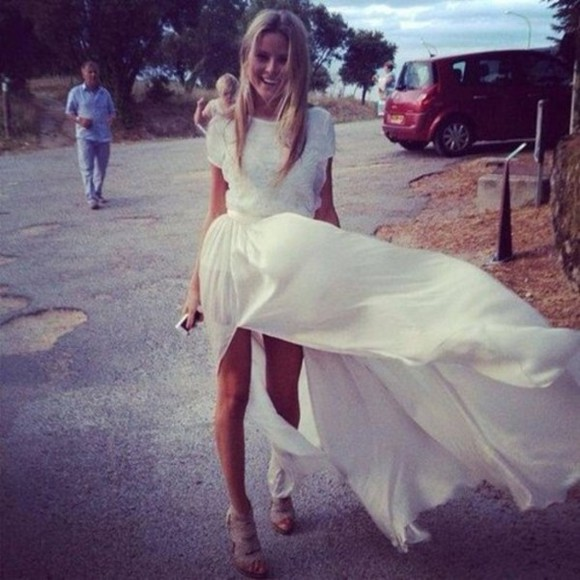 shoes dress prom dress long prom dresses white dress white prom dress summer dress slit skirt simple dress tumblr clothes tumblr dress