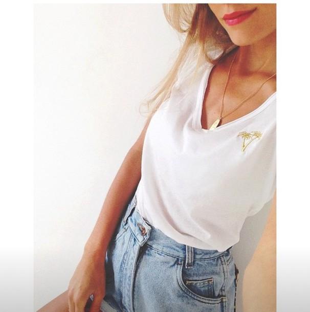 shirt palm tree print gold pink lip shorts High waisted shorts