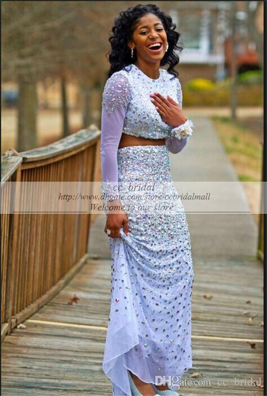 1799c56e5316 Modest Long Mermaid Prom Dresses 2015 Sparkly Beaded Elegant Two Pieces  Floor Length Long Sleeves Vestido ...