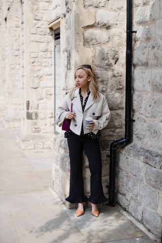 a style diary blogger shirt pants jacket shoes bag pumps black pants grey jacket purple bag spring outfits