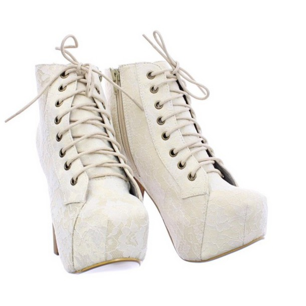 a65864848a9916 shoes creme white beautiful cute sexy spitze plateau boots high heels boots  high heel wood high