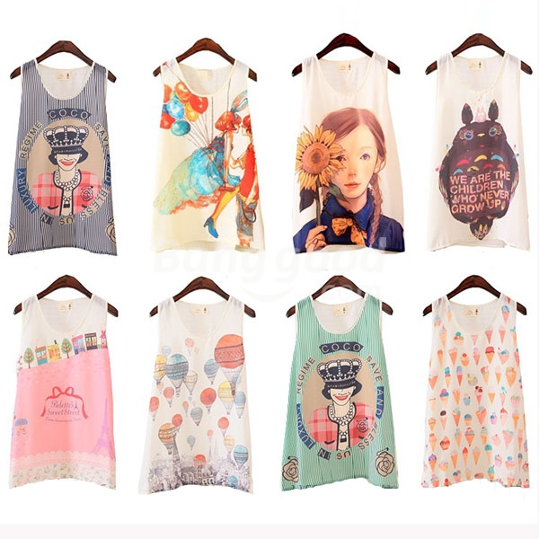 Zanzea® Fashion Casual O-neck Cartoon Print Sleeveless Chiffon Tank Tops Free Shipping!  - US$4.45