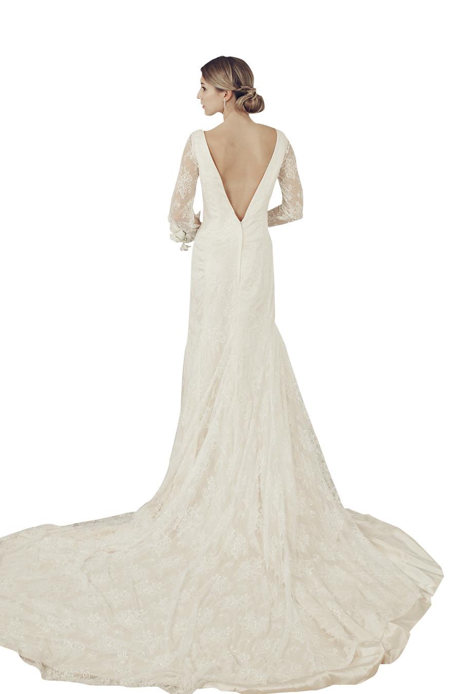 Beige long sleeve wedding dress (45679)