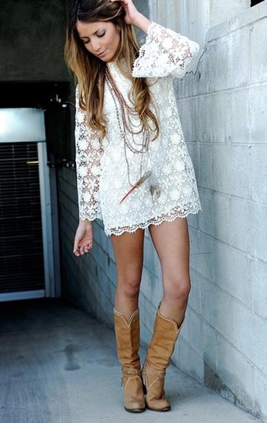dress lace boots white dress lwd white lace dress lace dress beige crochet long sleeve dress white boho bohemian gypsy festival