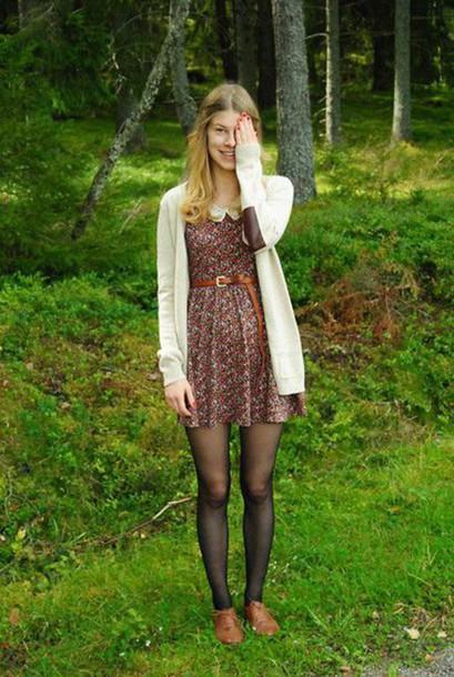 Dress Vintage Floral Dress Collared Dress Peter Pan