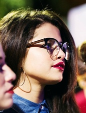 sunglasses,black,white,selena,gomez,selena gomez,transparent glasses