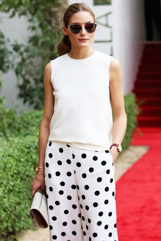 pants polka dot pants top white top sunglasses bag white bag clutch olivia palermo polka dots