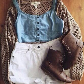 cardigan gris jeans beige marron cuir