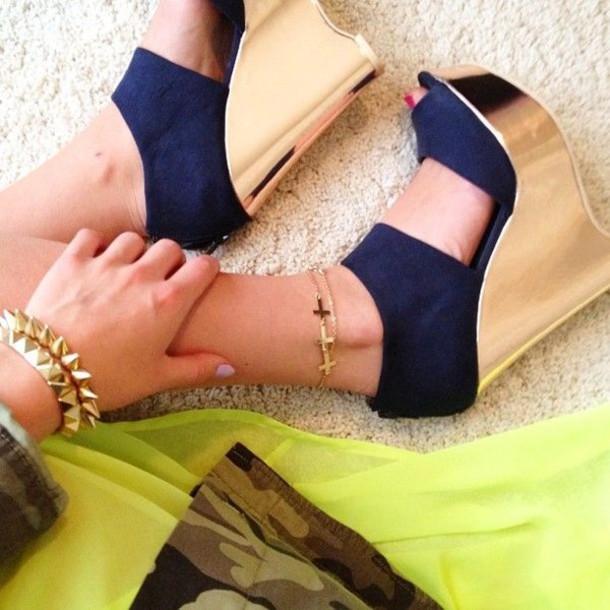 8e7392b1e2e shoes wedges heels navy gold summer shiny wedges blue blue and gold navy  talk straps felt