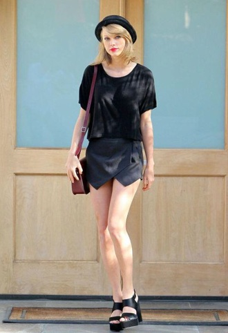 taylor swift black heels black t-shirt bag hat shirt t-shirt shoes