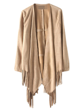 coat,Choies,khaki,asymmetric-hem-tassel,long-sleeve,suedette-coat