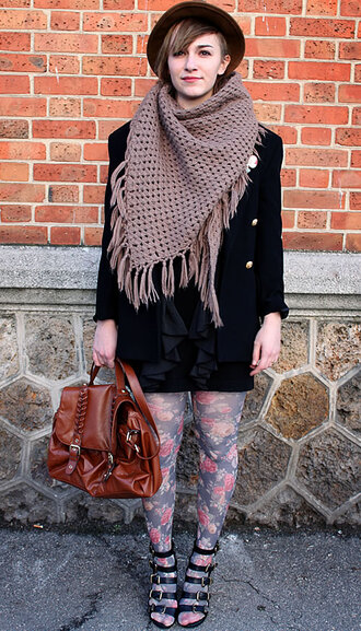 bag high heels brown bag leather bag floral tights tights