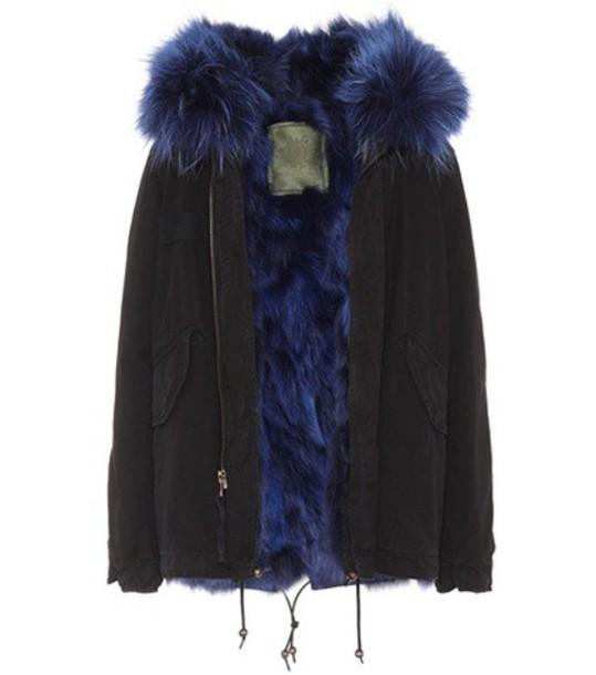 parka mini fur cotton black coat