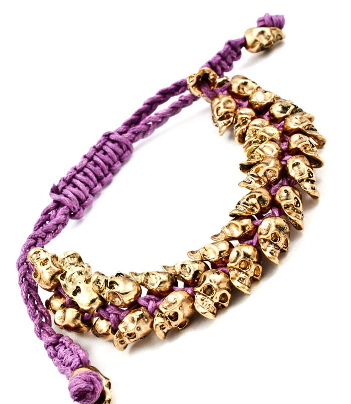 Double row purple skull bracelet