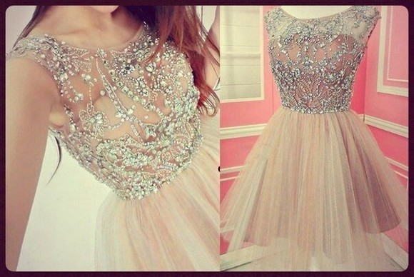 dress prom homecoming cute lace nude silver prom dress pink beauty beautiful dress short petite beige diamonds bling glitter sparkly dress chiffon dress crystals short prom dress rose