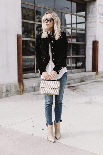damsel in dior blogger jacket shirt jeans bag shoes