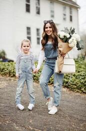dress corilynn,blogger,t-shirt,shoes,jewels,sunglasses,bag,shirt,scarf,sneakers,denim overalls,mother and child