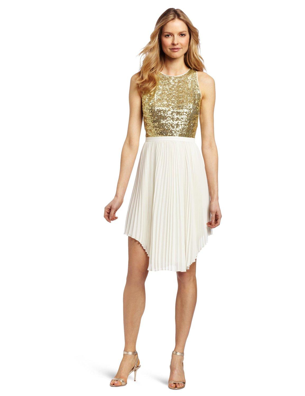Cynthia steffe women's malena dress, gold/light cream, 6 at amazon women's clothing store: