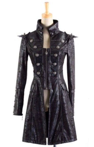 leather coat goth trench coat