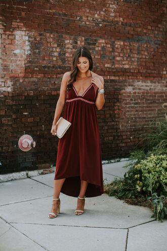dress burgundy dress tumblr midi dress burgundy summer dress summer outfits date outfit sandals sandal heels clutch bag shoes