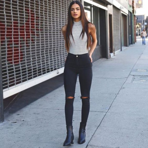 Tall high waisted ripped skinny jeans – Global fashion jeans