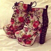 shoes,platform high heels,flowers,pink flowers,red flowers,roses,lace high heels,high heels,floral,rosés high heels,boots,floral shoes,laces,ankel boots,flower jeffrey shoes