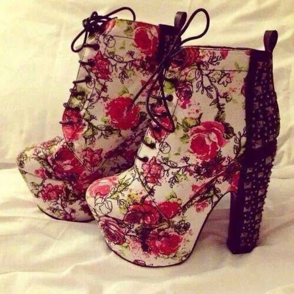 shoes boots high heels floral shoes laces floral flower