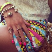 shorts,tribal pattern,ring,skirt,aztec,clothes,cross,jewelry,pink,blue,girly,jewels,short skirt,aztec short,cute,colorful shorts
