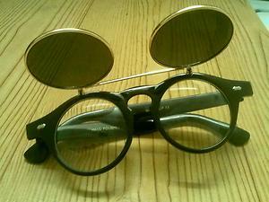 Amazing bizarre steam punk ish flip lense sunglasses clear lense glasses