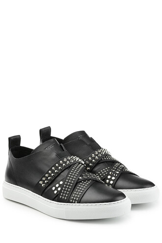 sneakers. straps studded sneakers leather black shoes