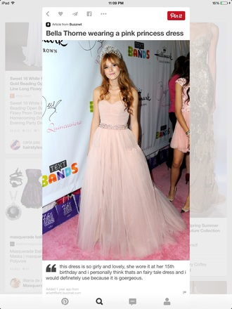 dress bella thorne pink dress long prom dress pink prom dress sweet 16 dresses strapless dress princess dress chiffon dress tulle dress light pink fairy tale