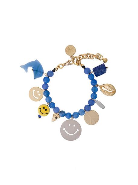 beaded bracelet women smiley beaded blue jewels