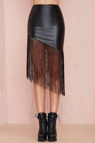 skirt tassel dress fringes black dress leather skirt mini skirt fashion style