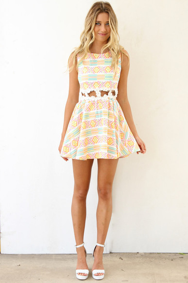 dress pastel orange yellow pink etzec tribal pattern floral cut-out