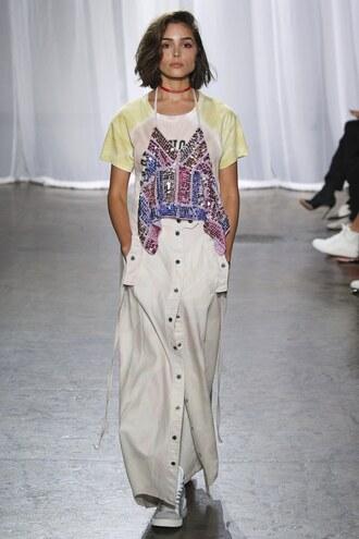 skirt top maxi skirt olivia culpo zadig et voltaire nyfw 2017 ny fashion week 2017 runway