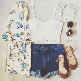 shorts top tank top sunglasses shoes jacket cardigan kimono ring hair accessories jewels blouse