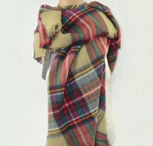 Genuine ZARA CHECKED/TARTAN CAMEL KNIT SQ SCARVES,SUPER Soft,4 Colours,140*140cm | eBay