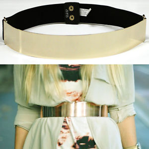 Band Elastic Metallic Bling Mirror Metal Gold Plate Wide Belt Leather OBI Waist | eBay