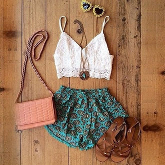 tank top white top white tank top crop tops lace top boho chic bohemian boho shirt shorts jewels shoes